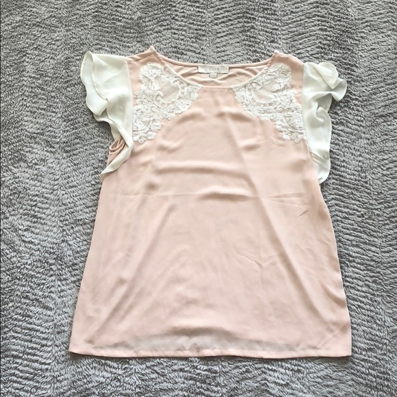 060233c9 LOFT Tops | Pink White Flutter Mixed Media Top | Poshmark